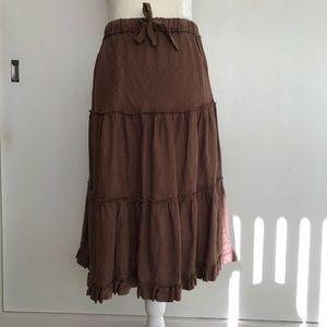Anthropologie Fei Brown Linen Tiered Skirt
